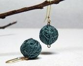 DEEP AQUA GREEN - cotton yarn beads earrings - Ready to ship