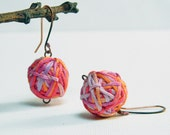 MIXED COLORS - cotton yarn beads earrings - orange, violet, lilac and cyclamen - Ready to ship
