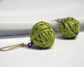 Apple green cotton yarn beads earrings, gold earwires, handmade yarn balls, round pendant, beaded earrings - ylleanna