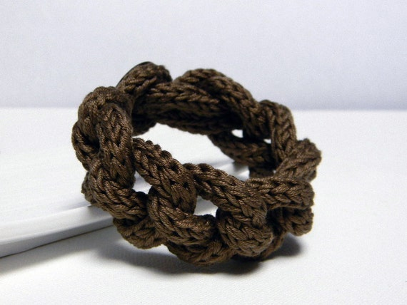 COCOA BROWN pure cotton yarn chain bracelet - Ready to ship