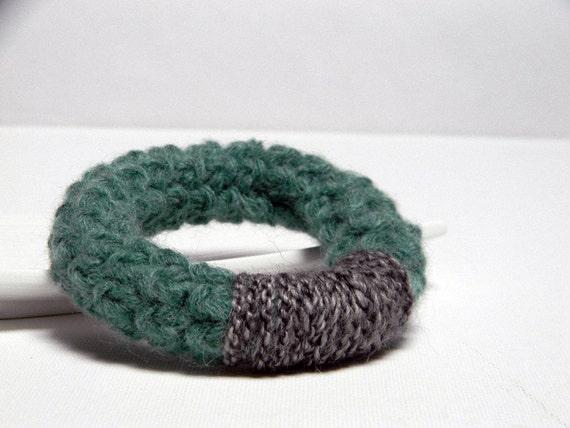 Blue green and grey crochet wool bracelet Bice, bangle