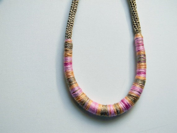 Ecru and mixed colors cotton yarn necklace Camilla - pale pink, light yellow, sand, fuchsia , yarn jewelry.