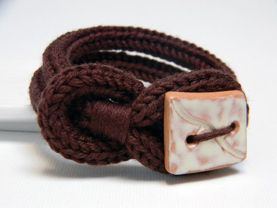 Chocolate brown knitted wool yarn bracelet  Noemi, square handmade ceramic button, knitting jewelry