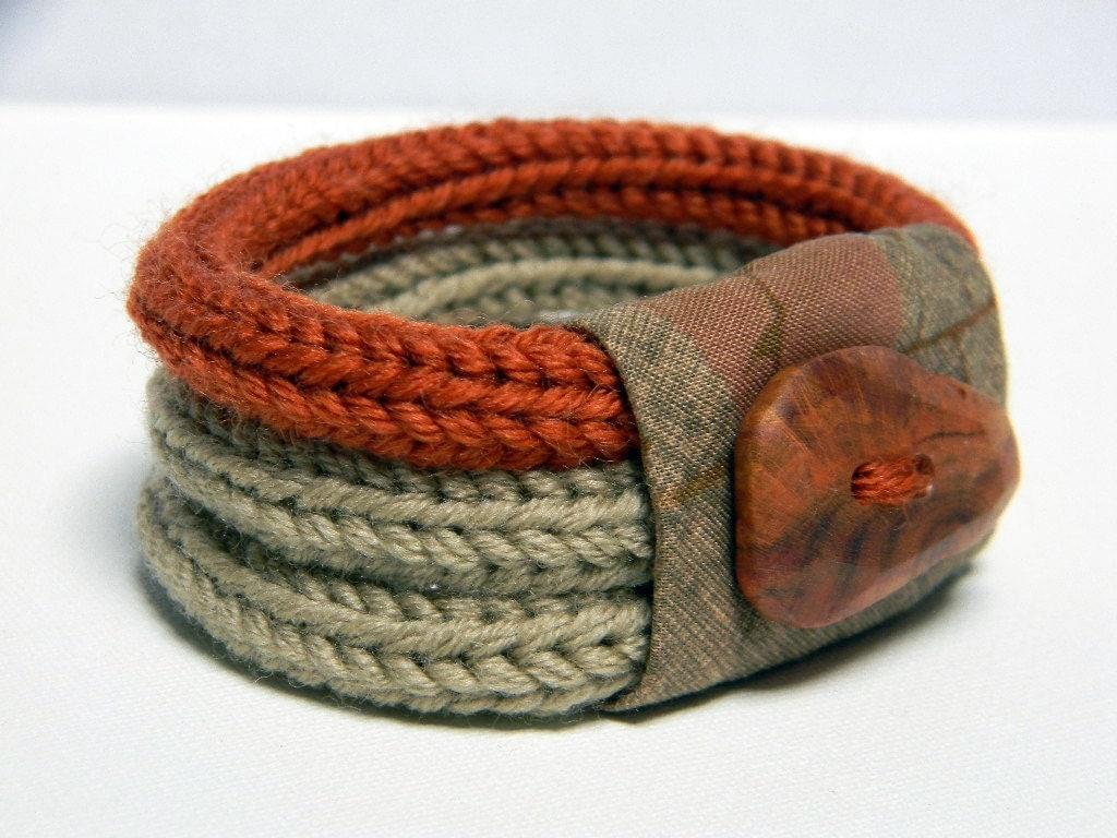 knitted bracelet wool and fabric linen beige burnt orange