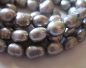 Shop Sale.. Baroque Pearls, Gray Grey Silver Cultured Freshwater Pearls, Luxe AA, 1 Full Strand, 10x7 mm, June birthstone baby bbg,,