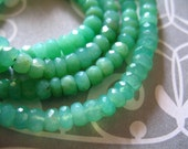 Shop Sale.. Chrysoprase Rondelles, Luxe AAA, 3.5-4 mm, Faceted, 1/4 Strand, Natural, Australian may birthstone tr