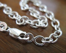 """Sale.. 1 pc, Sterling Silver Chain, FINISHED Chain, Charm Bracelet, 5.0x4.5 mm, 7"""", THICK, 18 gauge, done, wholesale bracelets b1 hp solo"""