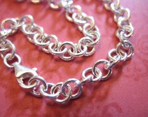 """1 pc, Charm Bracelet, Sterling Slver FINISHED, 5.0 mm Rolo Chain, 6 - 6.5 - 7 - 7.5 - 8 - 8.5"""" inch in, Thick, 18 gauge, done b100 hp"""