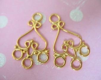 Shop Sale.. 1 pair, 24k Gold Vermeil Chandelier Earrings Earwires Connector Findings, Best Sellers, 21x13 mm, BALI Artisan wholesale. chand1