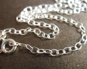 Shop Sale.. 1 pc, 20 inch, Sterling Silver Chain, FINISHED Chain, Flat Cable, 3.5x2.4 mm, spring ring clasp, solo..done.d44.20 hp