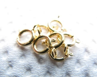 25-100 pcs Bulk, 14k Gold Filled Springring Spring Ring Clasps Wholesale, 6 mm, to finish small to medium chains yg only cs