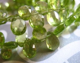Shop Sale.. .. Peridot Briolettes Pear, Luxe AAA, 6 pcs, 6-8 mm, Granny Apple Green Focals, faceted.. August birthstone 68