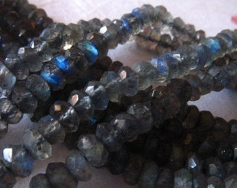 Shop Sale... LABRADORITE Rondelles, Full Strand, 3-4 mm, Luxe AAA, Faceted, tons flashes of blue, bridesmaids brides bridal weddings true