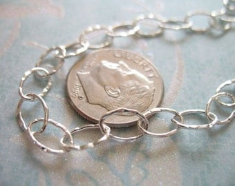 """Shop Sale.. Sterling Silver Chain, HAMMERED Chain, 2 feet, 24"""" inch, 8x5.5 mm, bold chunky wholesale designer BBB..ll.. L8..hp"""