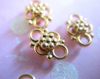 2 pcs, 24k Gold Vermeil Links Connectors Chandelier Components Findings, 9x6.5 mm, Artisan Daisy, wholesale sale. organic...nc1