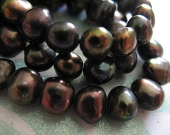 Shop Sale.. POTATO PEARLS, Freshwater Pearls, Luxe AAA, Full Strand, 7x5 mm, u pick . White Gray Black, wholesale pearls June birthstone pb