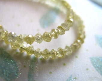 Shop Sale.. 5-20 pcs, DIAMOND Rondelles, Luxe AAA, 2-2.2 mm, Faceted, Untreated, Canary Yellow Diamonds..precious brides bridal..dry 20 solo