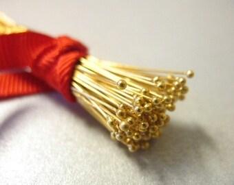 "Shop Sale.. 24k Gold Vermeil Head Pins BALL Headpins, 26 ga g gauge, 100 pcs BULK, 25 mm, 1"" inch in, Bali artisan. VHP26.25"