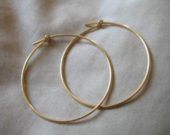 "Shop Sale..24k Gold Vermeil Hoops Earrings Earwires, 10 pair, Bulk Discount, 1.5"", 1 1/2"" inch.. add a dangle hoops wholesale ihm.p"