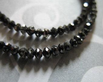 Shop Sale.. 5-20 pcs, BLACK DIAMOND Rondelles, Luxe AAA, Faceted, 2-2.5 mm, Untreated Genuine, april birthstone brides bridal..drb 20 solo