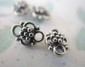 Shop Sale.. 2 pcs, Sterling Silver DAISY Connectors Stations Links, 8 mm, Dainty Petite ..artisan bali. wholesale sale.. neckconnst nc62