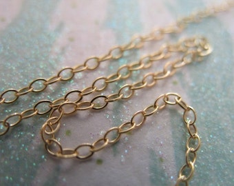 Shop Sale..3 6 10 20 50 100 feet, 14k Gold Filled Chain Bulk, Flat Cable Chain, Oval Links, 2x1.4 mm, 15-25% less, petite dainty solo sgf1