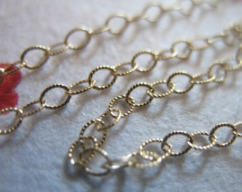 Shop Sale..14k Gold Filled Chain, 3x2 mm, Flat Cable Chain, Textured Oval Links, 10% Less Bulk.. 10 feet ft, 3x2 mm, SGF..SGF6