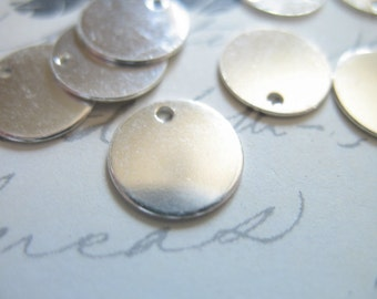 """Shop Sale.. 4 pcs, Sterling Silver Discs Blanks Round Circle Blanks, Bulk, 9 mm, 3/8"""" inch, wholesale custom stamp jewelry - blank110..v1"""