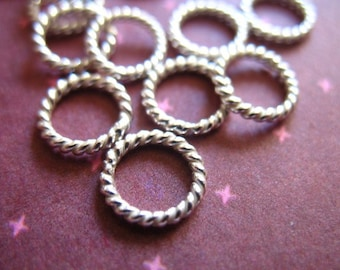 10 25 50 pcs, Sterling Silver Links Jump Rings Jumprings, TWISTED, CLOSED, 6 mm, 18 ga gauge, Thick, wholesale SJR6mm.18 hp tjr.s 67 solo