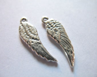 2 pcs, ANGEL WINGS Charms Pendants, Oxidized Sterling Silver, 16x4.5 mm, Artisan Petite, solid vintage