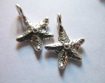 Shop Sale,, 1 2 5 pc, Silver STARFISH Star Fish Charms Pendants, 925 Sterling Silver, 13.5x9 mm, sea life beach weddings nature. solo oc