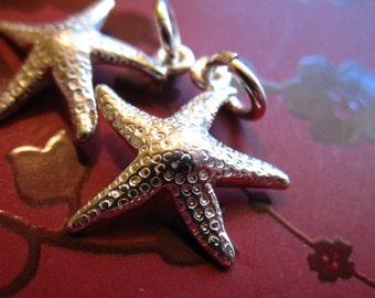 Shop Sale.. STARFISH Pendants Charms, Sterling Silver Star Fish, 17 mm, Solid, sea life creatures beach weddings bridesmaids stf17