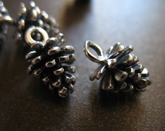 925 Sterling Silver PINECONE Pendant Charms, 1 pc, LARGE, 13.5x8.5 mm, 3D, Solid, woodland fall winter weddings