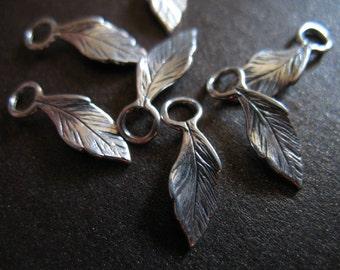 Shop sale.. 2 5 10 pcs, 925 Sterling Silver LEAF Charms Pendants, CURVY LEAF, 14.5x5 mm, oxidized..vintage organic nature bali artisan solo