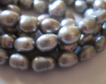 Shop Sale.. 1/2 Strand, Baroque Pearls, Gray Grey Silver Cultured Freshwater Pearls, Luxe AA, 10x7 mm, June birthstone baby bbg,,