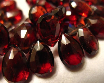 Sale.. GARNET Pear Briolettes, Mozambique Garnet, Luxe AAA, 10-12 mm, HUGE Pear, Burgundy Red, Faceted, January birthstone 1012