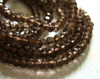 Shop Sale. SMOKEY QUARTZ Rondelles, Luxe AAA, Faceted, Full Strand, 3.5-4 mm, Dark Chocolate Brown, neutral