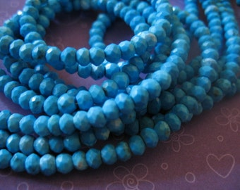 Shop Sale.. TURQUOISE Rondelles, Luxe AAA, 1/4 Strand, 3.5-4 mm, Genuine Stabilized Aqua Blue, genuine december birthstone solo wholesale