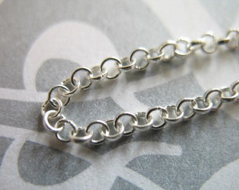 Sterling Silver Chain, 2.0 mm Rolo, Wholesale Chain by the foot, Bulk Sterling Chain, medium weight, unfinished SS.. s51..hp