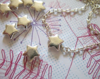Shop Sale.. 2 pcs, Puffy STARS, Puffed Stars Pendants Charms Beads, TWINKLE Stars, 925 Sterling Silver, 6.5x2.5 mm, astrology sc.6