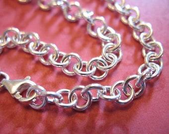 "Charm Bracelet / Sterling Silver Charm Bracelet Chain / FINISH Bracelet / 5.0 mm ROLO, 6 6.5 7 7.5 8 8.5 9 9.5 10"" / Heavy 18 ga b100 hp"