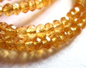 Shop Sale..CITRINE Rondelles Beads, Luxe AAA, Faceted, 1/2 Strand, 3-4 mm, Golden Whiskey Champagne Honey.. wholesale