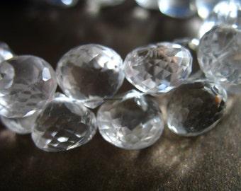 Shop Sale.. 2 4 10 pcs, 9.5-11 mm, Clear CRYSTAL Quartz Onion Briolettes, Luxe AAA, bridal brides weddings april birthstone 1012 solo crc