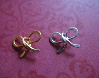 Shop Sale.. Sterling Silver / 24k Gold Vermeil, Bow Ribbon Charm Pendant Link, PETITE, pick mix, 10 pcs Bulk, 10x8 mm, art hp