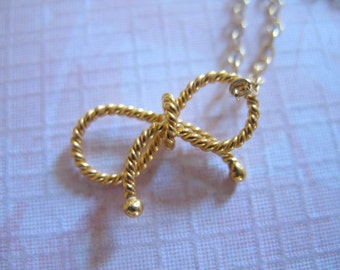 Shop Sale.. 1 pc, BOW Pendant Bow Charm, 24k Gold Vermeil, Small, Twisted Ribbon, 15x11 mm, tie the knot bow artisan designer art