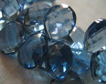Shop Sale.. 2 4 10 QUARTZ PEAR Briolettes, Luxe AAA, Soft Ceylon Sapphire Blue, 14-15.5 mm, Giant Facet, september birthstone hydqtz21 bsc