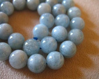 Sale.. 4 pcs, AQUAMARINE ROUND Beads, 10.25 mm, Luxe AAA, Light Aqua Blue Green Beads, smooth..march birthstone..roundgems10