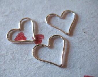 Shop Sale..2 5 10 25 pc, HEART Pendant Charm LINKS Connectors, Sterling Silver / 14k Gold Fill, 15.5x14 mm, brides bridal bridesmaids hp