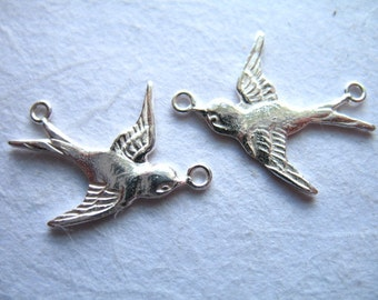 1 2 4 10 pcs, Sterling Silver SWALLOW Sparrow Links Connectors Pendants, 19.5x15 mm, Right n Left.. artisan ..art only hp solo