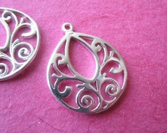 Tear Drop Teardrop Filigree Pendant Charm Link, 2 pcs, 20x16.5 mm, 925 Sterling Silver, Arabesque Link, wholesale  jewelry findings